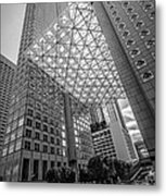 Miami Downtown Shadow Play - Black And White Metal Print by Ian Monk