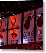 Miami Heat Banners Metal Print by J Anthony