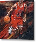 Michael Jordan Chicago Bulls Basketball Legend Metal Print by Christiaan Bekker