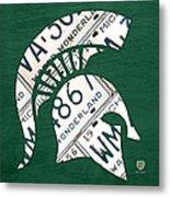 Michigan State Spartans Sports Retro Logo License Plate Fan Art Metal Print by Design Turnpike
