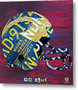 Michigan Wolverines College Football Helmet Vintage License Plate Art Metal Print by Design Turnpike