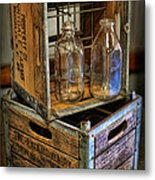Milk Bottles And Crates Metal Print by Lee Dos Santos