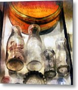 Milk Bottles In Dairy Case Metal Print by Susan Savad