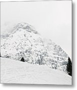 Minimalist Snow Landscape - Mountain And Trees In Winter Metal Print by Matthias Hauser