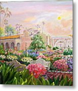 Misty Morning At Mission San Juan Capistrano  Metal Print by Jan Mecklenburg