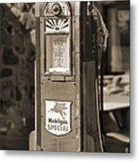 Mobilgas Special - Wayne Pump - Sepia Metal Print by Mike McGlothlen