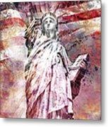 Modern Art Statue Of Liberty Red Metal Print by Melanie Viola