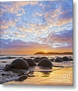 Moeraki Boulders Otago New Zealand Sunrise Metal Print by Colin and Linda McKie