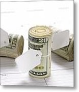 Money Rolls On Calendar Metal Print by Joe Belanger
