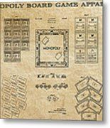 Monopoly Board Game Aged Patent Art  1935 Metal Print by Daniel Hagerman