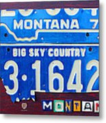 Montana License Plate Map Metal Print by Design Turnpike