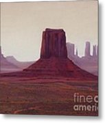 Monument Valley- Haze Metal Print by Xenia Sease
