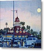 Moon Over Coronado Boathouse Metal Print by Mary Helmreich