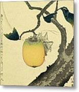 Moon Persimmon And Grasshopper Metal Print by Katsushika Hokusai
