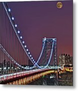 Moon Rise Over The George Washington Bridge Metal Print by Susan Candelario