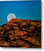 Moon Setting Behind Horsetooth Rock At Sunrise Metal Print by Harry Strharsky