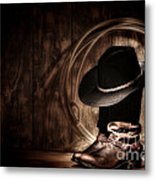 Moonlight Cowboy Metal Print by Olivier Le Queinec