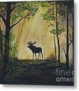 Moose Magnificent Metal Print by Leslie Allen