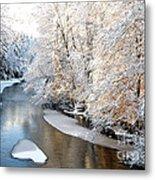 Morning Light Fresh Snowfall Gauley River Metal Print by Thomas R Fletcher