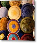 Moroccan Pottery On Display For Sale Metal Print by Ralph A  Ledergerber-Photography