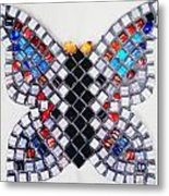 Mosaic Butterfly Metal Print by Lisa Brandel