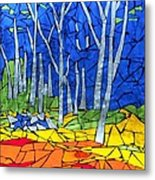 Mosaic Stained Glass - My Woods Metal Print by Catherine Van Der Woerd