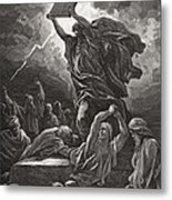 Moses Breaking The Tablets Of The Law Metal Print by Gustave Dore