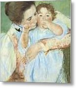 Mother And Child Against A Green Background Metal Print by Mary Cassatt