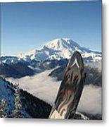 Mount Rainier Has Skis Metal Print by Kym Backland