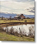 Mountain View Barn Metal Print by Heather Applegate