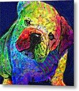 My Psychedelic Bulldog Metal Print by Jane Schnetlage