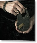 Mysterious Woman With Lock Metal Print by Edward Fielding