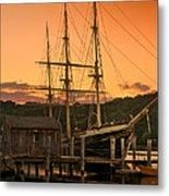 Mystic Seaport Sunset-joseph Conrad Tallship 1882 Metal Print by Thomas Schoeller