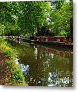 Narrowboats Moored On The Wey Navigation In Surrey Metal Print by Louise Heusinkveld