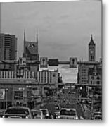 Nashville Skyline In Black And White Metal Print by Dan Sproul