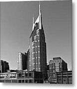 Nashville Tennessee Skyline Black And White Metal Print by Dan Sproul