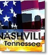 Nashville Tn Patriotic Large Cityscape Metal Print by Angelina Vick