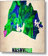 Nashville Watercolor Map Metal Print by Naxart Studio