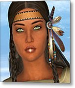 Native American Woman Metal Print by Design Windmill