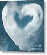 Navy Blue And White Love Metal Print by Linda Woods
