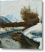 Near La Punt St Morritz In The Engadine Valley Metal Print by Peder Monsted