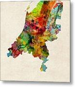 Netherlands Watercolor Map Metal Print by Michael Tompsett