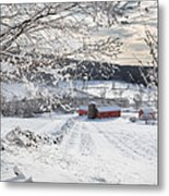 New England Winter Farms Square Metal Print by Bill Wakeley