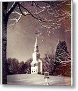 New England Winter Village Scene Metal Print by Thomas Schoeller