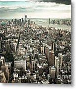New York From Above - Vintage Metal Print by Hannes Cmarits