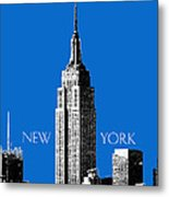 New York Skyline Empire State Building - Blue Metal Print by DB Artist