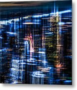 New York - The Night Awakes - Blue I Metal Print by Hannes Cmarits