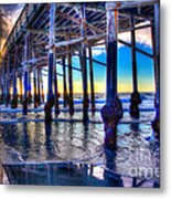 Newport Beach Pier - Low Tide Metal Print by Jim Carrell