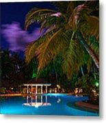 Night At Tropical Resort Metal Print by Jenny Rainbow