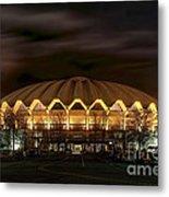night WVU basketball Coliseum arena in Metal Print by Dan Friend